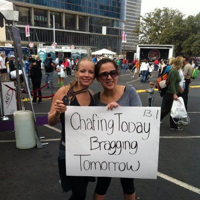 Funny sign for my friend first half marathon