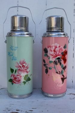 Retro 1950s Kitsch enamel painted floral Thermos pink & green