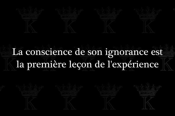 La conscience de son ignorance est la première leçon de l'expérience