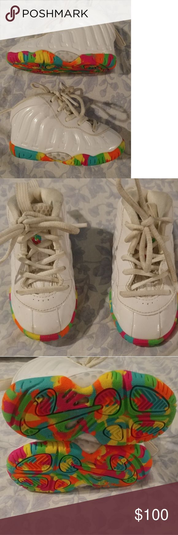 👟 Fruity Pebbles foamposites Nike sz 5c Rare⚡💍White Fruity pebble foamposites in good condition. I do have the box . Nike Shoes Sneakers