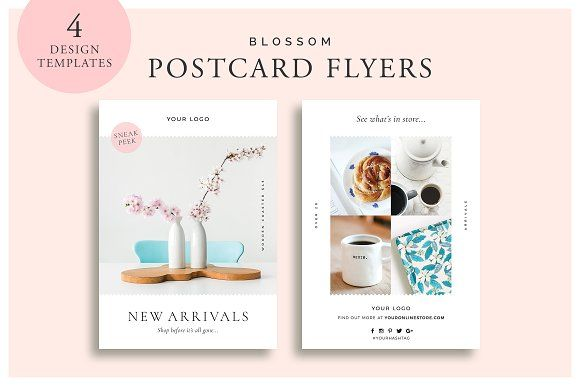Blossom Postcard Flyers by White Box Design Studio on @creativemarket