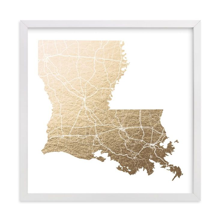 Louisiana Map Foil pressed Art Print by