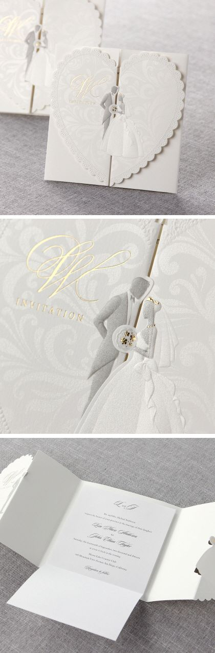 keralwedding card wordings in english%0A  Romantic gatefold  modern  invitation features delicately  embossed  bride  and  groom