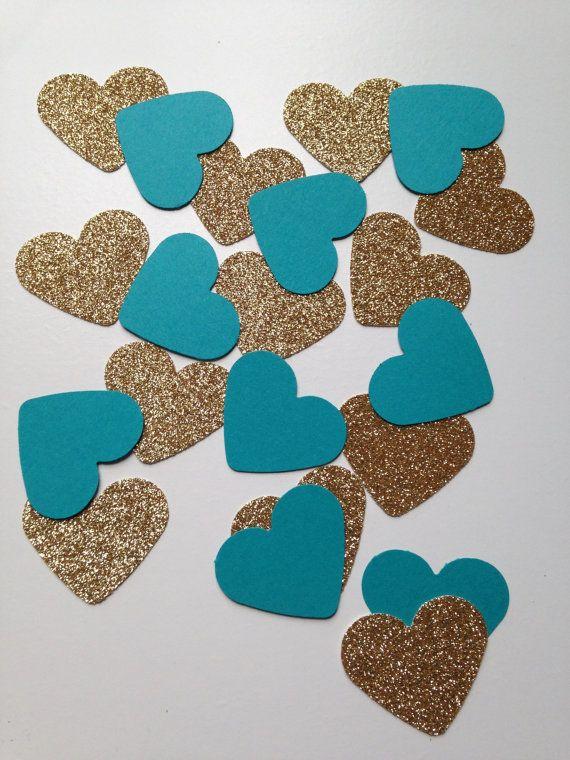 Gold Glitter & Teal Heart Confetti