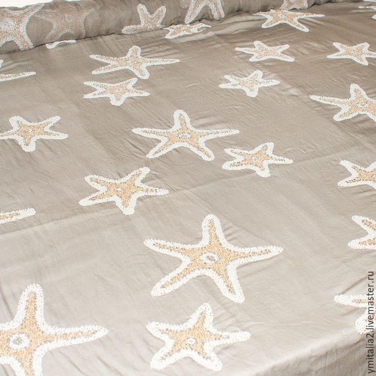 Купить Итальянский вышитый шелк ARMANI PRIVEE морские звезды коралловые - итальянские ткани