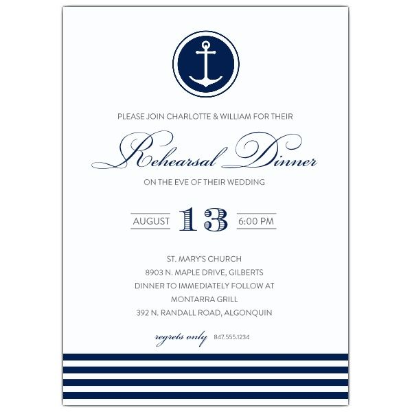 Nautical Anchor Rehearsal Dinner Invitations