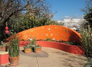 wall and seating -- Tucson Botanical Garden ------- Your guide to the art of gardening in a hot dry climate
