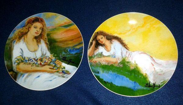 2 ARTE DE CAFE Elsa Nunez Obras de Elsa Nunez Hand Painted Collectors Plates