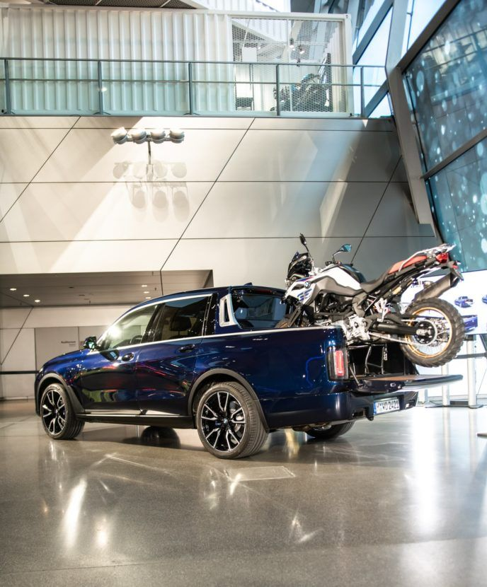 The One Off Bmw X7 Pickup Truck Is Now Displayed At The Bmw Welt Bmw X7 Bmw Pickup Trucks
