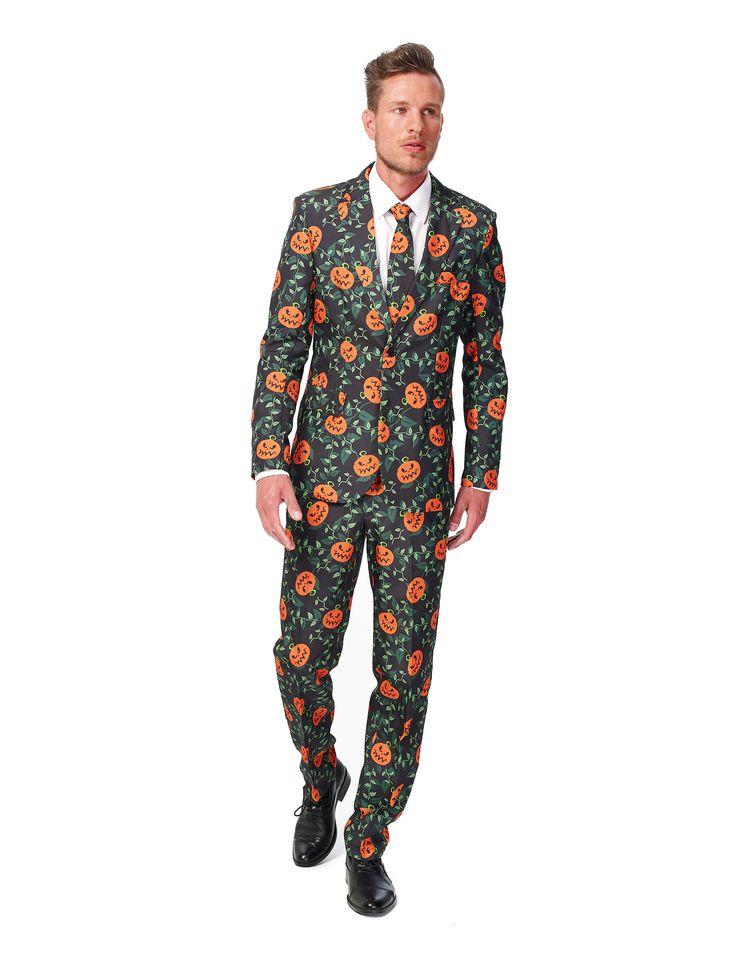 Traje calabaza Suitmeister™ Halloween hombre: Este traje deSuitmeister™ para Halloween de hombre incluye chaqueta, pantalón y corbata (camisa y zapatos no incluidos).El traje es negro con calabazas de Halloween.La chaqueta...
