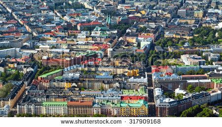 Aerial view of Helsinki, capitol of Finland - stock photo