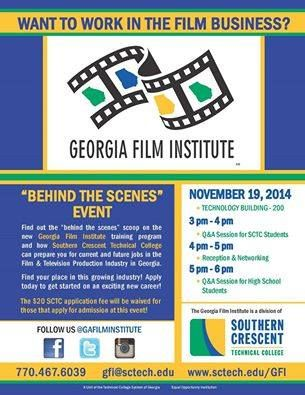 Get a behind the scenes look at life in the film industry with Georgia Film Institute! http://on.fb.me/1uN9fny