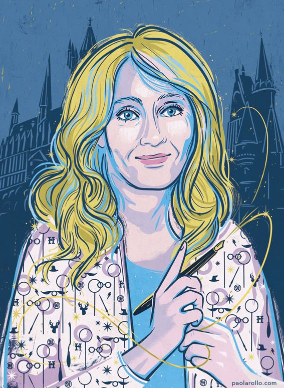 """J. K. Rowling by Paola Rollo. A portrait for """"Goodnight stories for rebel girls 2"""", a project by Timbuktu Labs."""