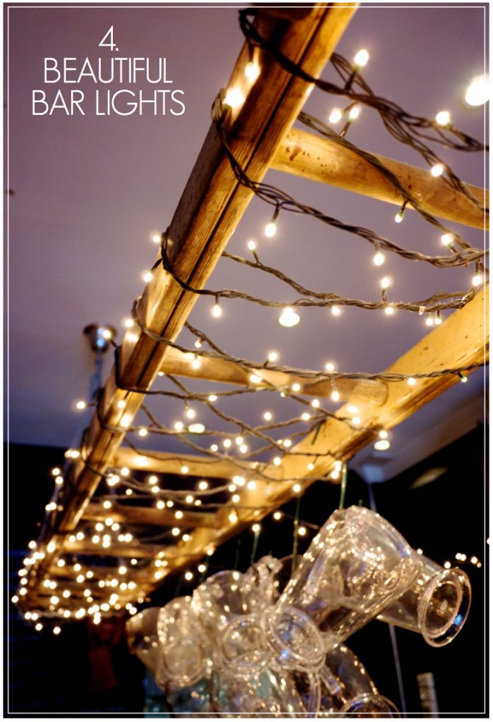 Creative Find - Black Sheep Bar Lighting Fairy Lights Ladder