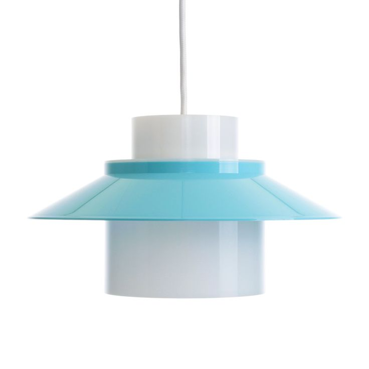 DINETTE pendant by Bent Karlby - 1970 - LYFA - Iconic Danish vintage design. Cute light blue and white acrylic plastic hanging lamp. by DanishVintageDesigns on Etsy