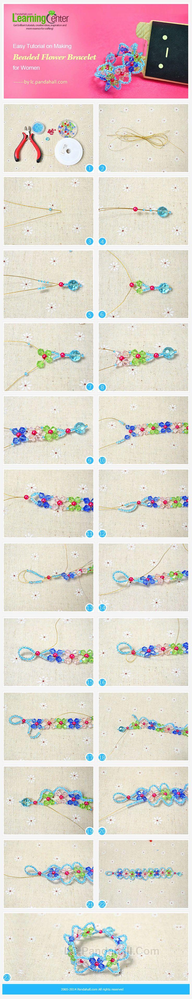 Easy Tutorial on Making Beaded Flower Bracelet for Women
