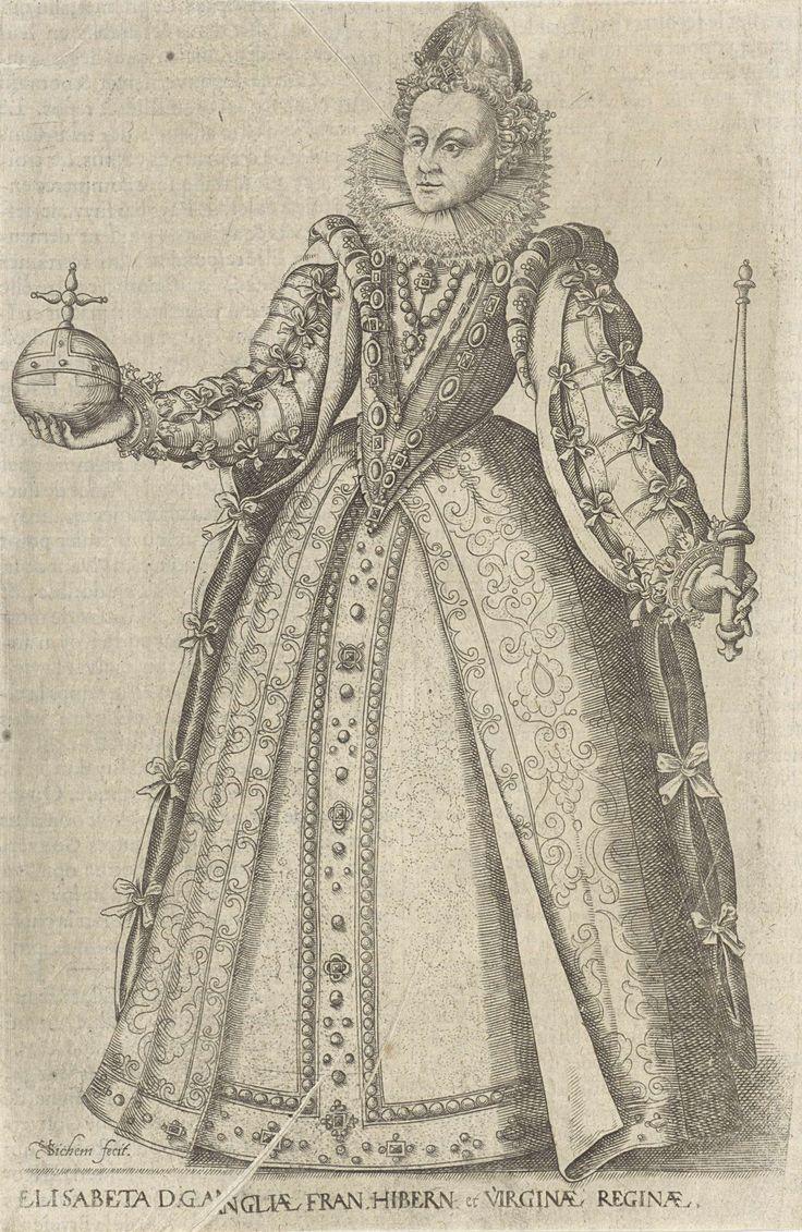Portret van Elizabeth I Tudor, koningin van Engeland, Christoffel van Sichem (I), in or before 1601