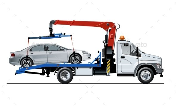 Vector Tow Truck Template Isolated On White Tow Truck Truck Detailing Trucks