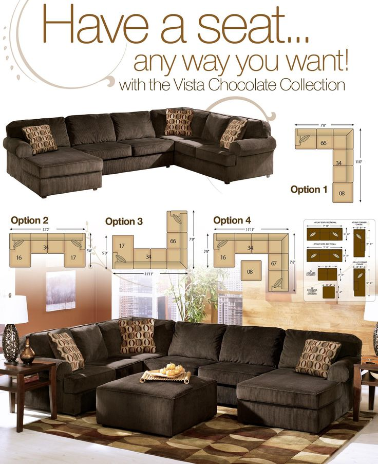 Vista Chocolate Casual 3 Piece Sectional with Right