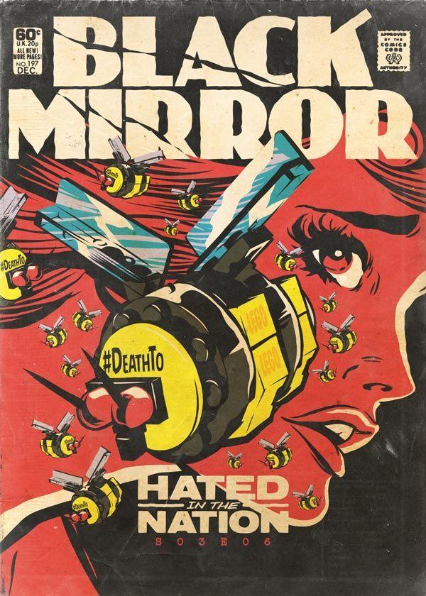 Episódios de Black Mirror reimaginados como revistas em quadrinhos dos anos 70 - O designer Butcher Billy, reimaginou os treze episódios de Black Mirror como se fossem revistas em quadrinhos dos anos 70.