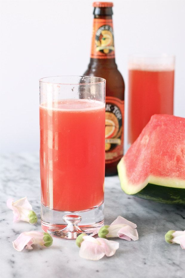 watermelon shandy with Shock Top- the perfect summer drink!