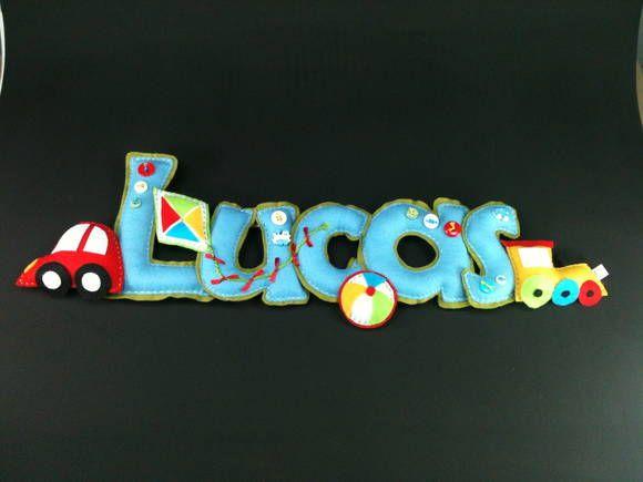 Nome Em Feltro Lucas Brinquedos de Menin | Lili Mosaico & Artesanato | 335778 - Elo7