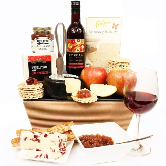 Treat someone special to our Christmas Cheese & Wine Hamper www.eden4hampers.co.uk