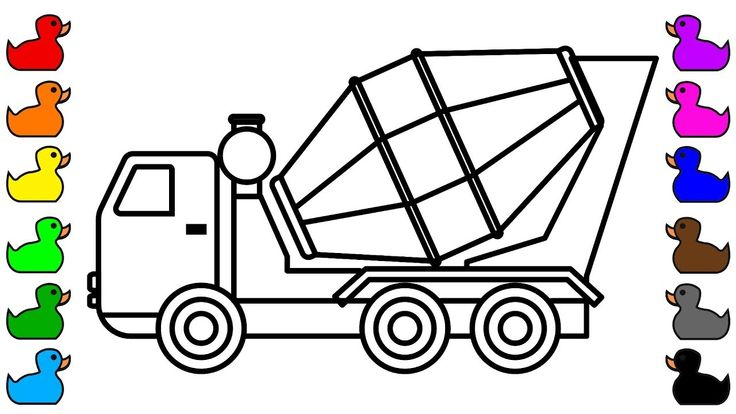 Mixer Truck Coloring Pages, Learn colors for kids with construction vehi...