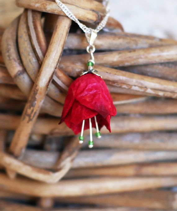 Cherry red flower necklace handcrafted with silk by Silkpods, $69.00