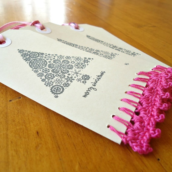 Hand Crocheted & Stamped Christmas Gift Tags  Pink Christmas by Foundation18.    All profits go to the Foundation 18 orphanage.