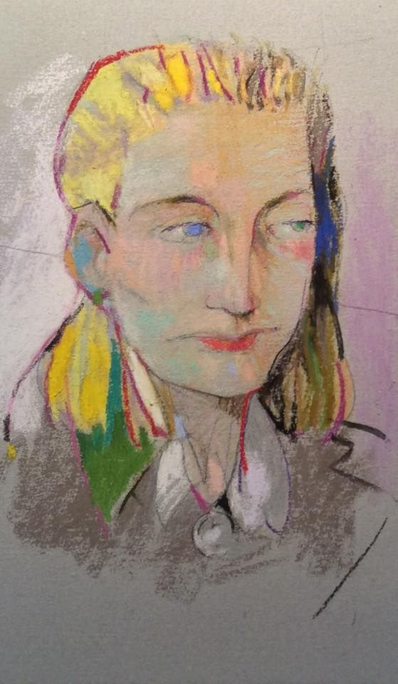 "Lydia twice see but thrice removed. 2015. 16"" x 9.5."" Pastel and Graphite on Canal Paper. Casey Klahn."