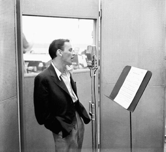 Frank Sinatra recording at Columbia Records' studio, New York, 1950