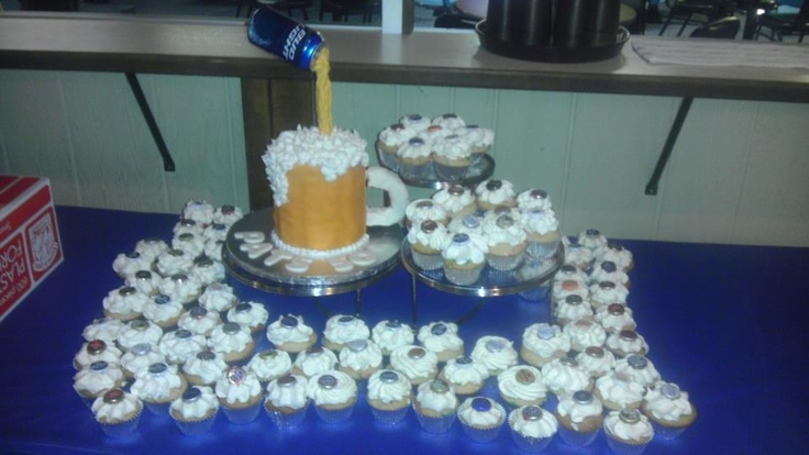 Beer Cake with Cupcakes