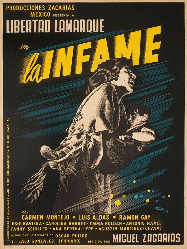 Mexican poster for LA INFAME (Miguel Zacarias, Mexico, 1953)  Designer: Josep Renau (1907-1982)