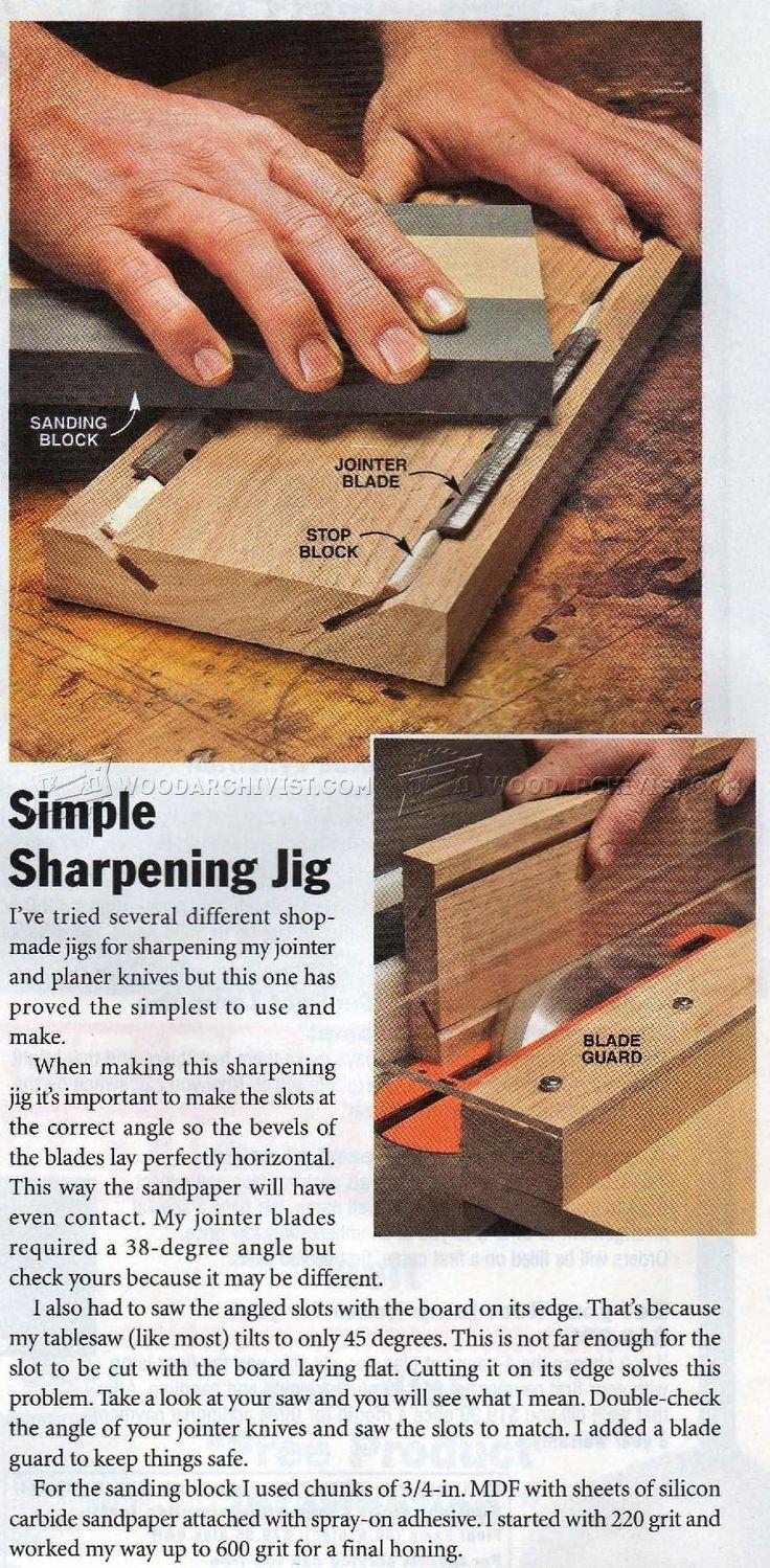 Planer Blade Sharpening Jig - Sharpening Tips, Jigs and Techniques | WoodArchivist.com