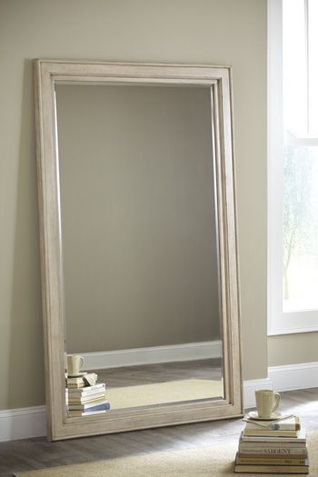 demarlos floor standing mirror in parchment white b69307