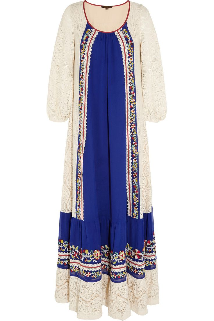 Vineet Bahl | Crocheted cotton and embroidered crepe maxi dress | NET-A-PORTER.COM