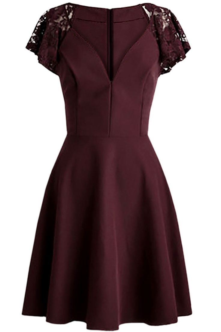 $20.20 Fit and Flare Lace Cap Sleeve Dress