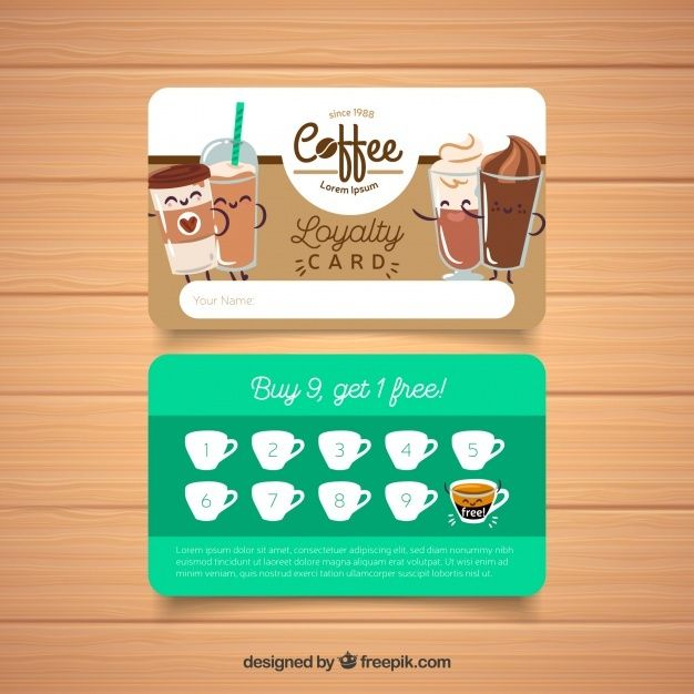 Free Coffee Shop Loyalty Card Template Svg Dxf Eps Png 7 Creative Spring Svg Craft Ideas Poster Minuman Kartu Inspirasi Desain Grafis
