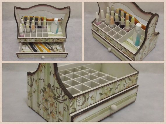 Nail Polish Organizer Wooden Storage Box, with Dividers and a Drawer, Floral Decoupage on Etsy, $49.00