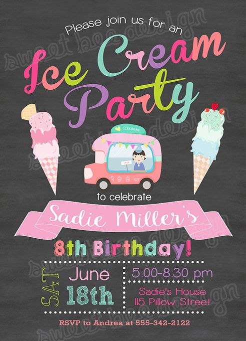 Ice Cream Birthday Invitation, Ice Cream Invitation, Ice Cream Social Invitation, Ice Cream Party, Summer Invitation, Chalkboard Ice Cream  All information including color, text and font can be changed and customized for you.  This listing is for a 4x6 or 5x7 birthday invitation digital file. You print yourself.  -How it Works- 1. CHOOSE and PURCHASE your favorite design. Visit my shop to see all my designs http://sweetbeedesignshoppe.etsy.com (contact me first if you would like a custom…