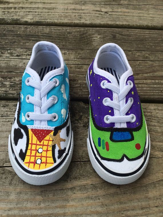 Woody and buzz inspired shoes for boys or girls! I can also do Woody and Jessie or work with you to create whatever you wish! This listing is for