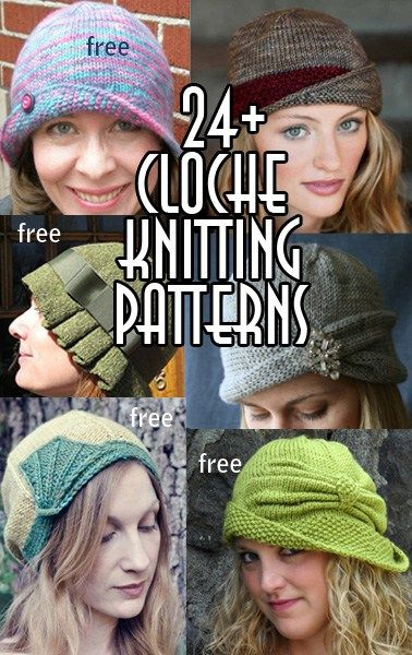 Cloche Hat Knitting Patterns, many free knitting patterns - reversible cloches, Art Deco details, retro and modern cloches