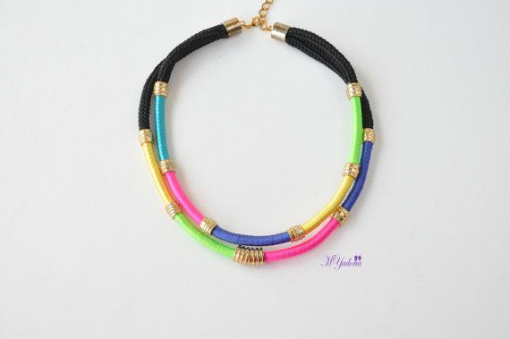 Tribal Jewelry African Inspired Necklace Multicolor by MYadoria, $29.00