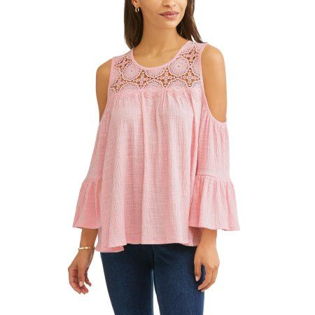 2f79ef0040dfe Time and Tru Women s Long Sleeve Lace Cold Shoulder Peasant Top - Walmart .com