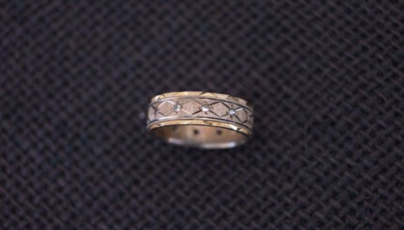 Antique Sterling Silver and 9 ct gold Eternity Ring Wedding Band 1919 - Vintage Wedding Ring - Vintage Eternity Ring -  US 6 or UK L on Etsy, $139.00 AUD