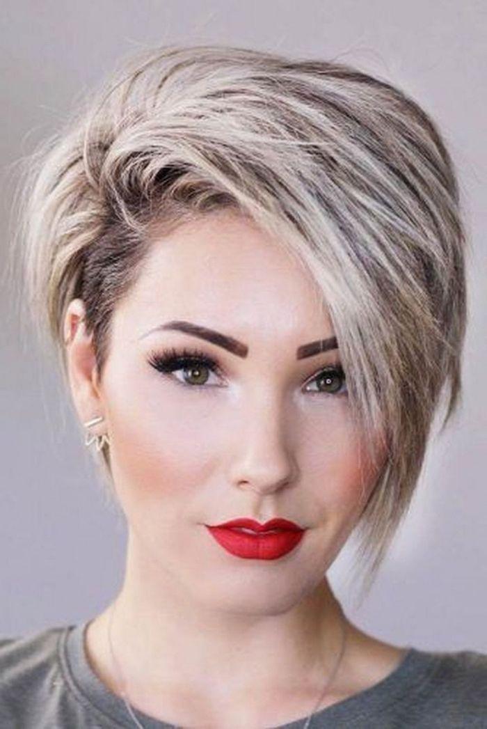 Red Lipstick Blonde Hair Asymmetrical Short Hair White Background Grey Shirt Short Hairstyles For Thick Hair Thick Hair Styles Pixie Haircut For Thick Hair
