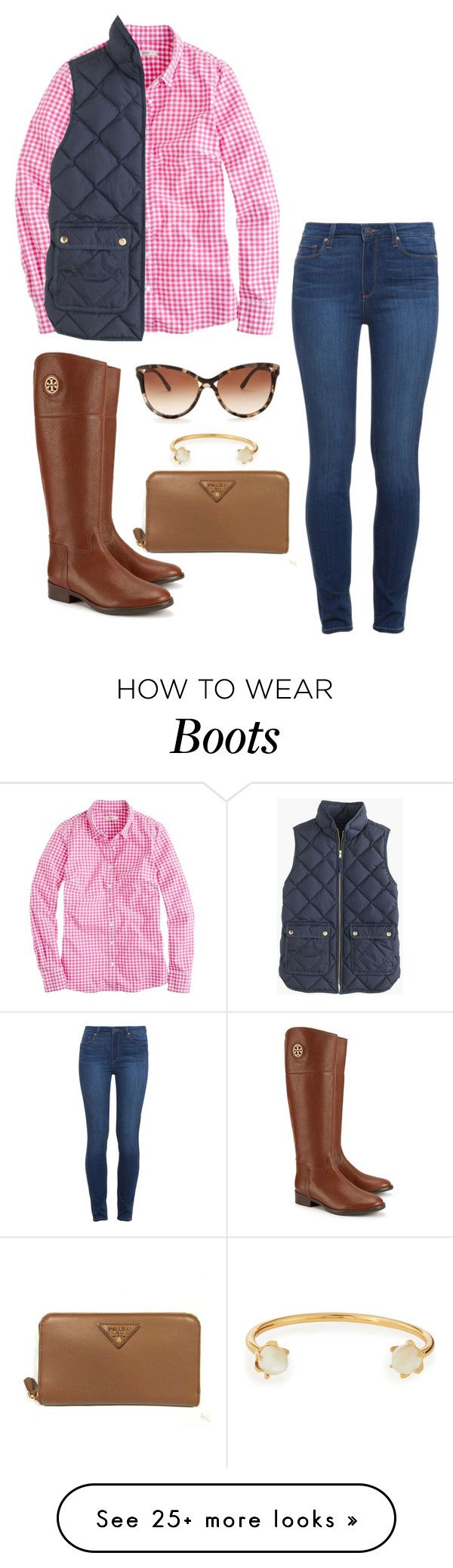 """tory burch riding boots"" by mcgeemaddie on Polyvore featuring Paige Denim, J.Crew, STELLA McCARTNEY, Tory Burch, Lizzie Fortunato and Prada"