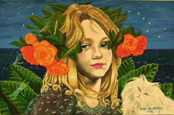 Celia con Luna y estrellas en naranja. Mar Amorrortu. Acrílico sobre tabla 92x60