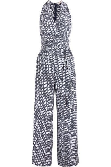 Tory Burch - Wrap-effect Polka-dot Silk Crepe De Chine Jumpsuit - Midnight blue -